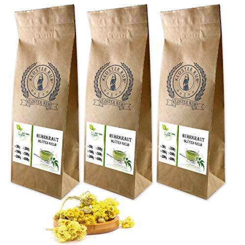 VITAIDEAL VEGAN® Ruhrkrautblüten ganz (Helichrysum arenarium) 3x100g, rein natürlich ohne Zusatzstoffe.