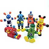 Set of 6 Wooden Transforming Toys Robots. Creative Gift for The Development of The Child. [Tall About 4.5 in]