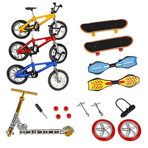 Tongdejing Juego de monopatín de dedos de simulación de bicis, monopatín, juguetes de dedos, diapasón para fiestas y regalos para niños