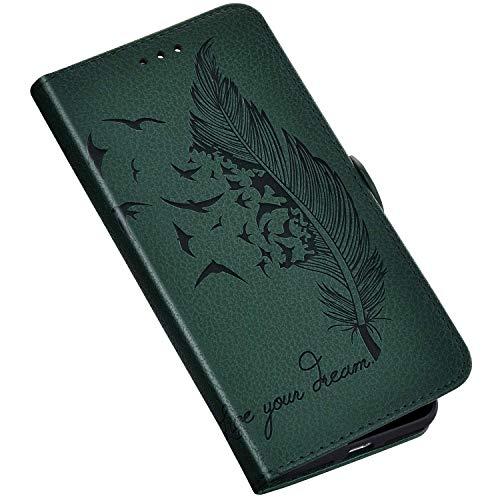 QPOLLY Kompatibel mit Samsung Galaxy A10S Hülle Leder Tasche Brieftasche Flip Wallet Case Schutzhülle Handyhülle Blumen Feder Muster Klapphülle mit Standfunktion für Galaxy A10S,Grün