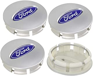 Cardiytools 4PCS 67mm White Center Wheel HUB Caps Emblem Cover Fit for Ford BB53-1A096-RA