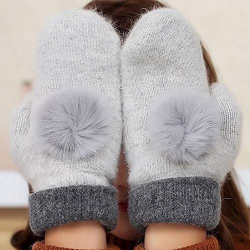 Shangai Leuke Riem Konijn Haar Bal Dubbele Dikke Warme Wanten Winter Dames Warm Rijden Winddichte Volledige Vingerhandschoenen
