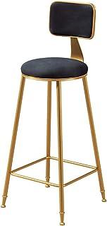 Taburetes de Bar Modernos con Respaldo y 4 Patas Dorado Ruedas l Elegantes sillas de Comedor de Terciopelo taburetes de Barra Altos Cocina, Altura del Asiento 65/75 cm, Negro