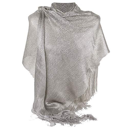 Emila Stola argento chiaro cerimonia coprispalle elegante a rete con frange foulard scialle grande sciarpa lurex da matrimonio per abito da sera giorno primavera estate 2021 estivo Argento chiaro