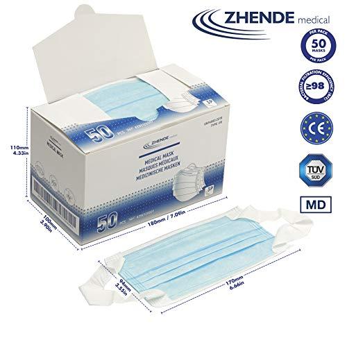 Zhende Medical 3ply - Medizinische Gesichtsmaske Typ IIR - 50 STK. | Medizinprodukteverordnung (EU) 2017/745, 98% BFE, verifiziert und getestet | Nicht steril