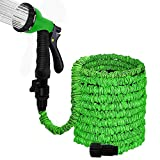 100FT Garden Hose Reel Wall Mount Expandable 3 Times TPE Super-Strength High Pressure Flexible Water Hose with 3/4' Solid Fittings Comes with Free Hose Hook