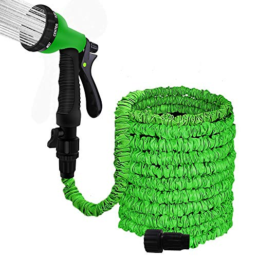 """100FT Garden Hose Reel Wall Mount Expandable 3 Times TPE Super-Strength High Pressure Flexible Water Hose with 3/4"""" Solid Fittings Comes with Free Hose Hook"""