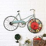 qwqqaq Clásico Metal Bicicleta Reloj De Pared,Industrial Hecha A Mano Reloj De Pared,Sin Tictac Silencioso Reloj De Pared De Cuarzo para La Cocina del Hogar-A 81x5x51cm(32x2x20inch)