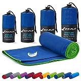 Asciugamano microfibra – 18 colori, varie misure – compatto & ultraleggero – Microfibra asciugamano – asciugamano sport, telo da palestra e asciugamano viaggio (40x80cm blu scuro - bordo verde)