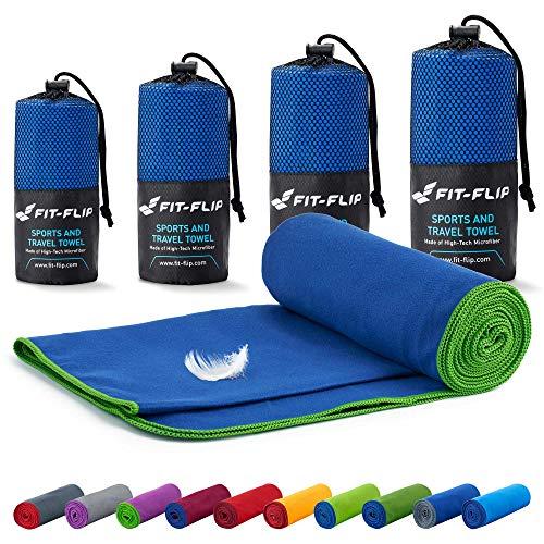 Fit-Flip Mikrofaser Handtücher Set – 18 Farben, viele Größen – kompakt & schnelltrocknend – das perfekte Trainingshandtuch, Travel Towel, Strandtuch (100x200cm, Dunkelblau - Grün)