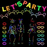 Glow in the Dark Neon Party Supplies Decorations Let's Party Flag, 6 Bracelets, 100 Pieces Glow Sticks Bulk, 6 Pieces Glasses and Headwear Accessories
