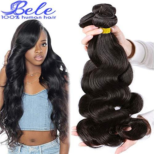 Bele Malaisien 9A Body Wave Cheveux 3 liasses avec 4 x 4 Free Part Lace Closure 100% non transformés Extensions de cheveux humains Couleur naturelle (20 22 24 avec 18) pouces