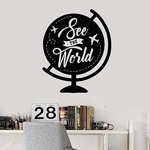 Vinilo adhesivo de pared con frase de globo ver el mundo aventura pegatinas de pared niño decoración interior pegatinas removibles mural 69 x 57 cm