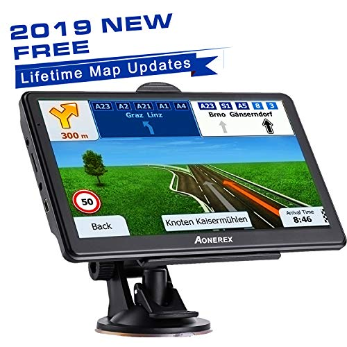car GPS Navigation 7 inch HD Universal GPS Real Voice Spoken Turn-by-Turn Direction Reminding 8 GB ROM 256 MB Global Navigation Satellite System - Newest Map + Lifetime Free Updates