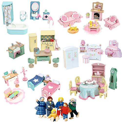Le Toy Van Puppenhausmöbel Set Daisylane 6 Zimmer + Biegepuppen-Set - Puppenhaus Möbel - Puppenstube