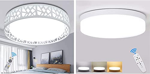 DLLT 35W Modern Dimmable Ceiling Light with Remote and 18W Dimmable Flush Mount LED Ceiling Light with Remote for Living Room/Bedroom/Kitchen/Closet/Bathroom/Entryway