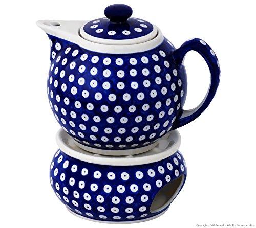 Original Bunzlauer Keramik Teekanne mit Stövchen 1.00 Liter im Dekor 42