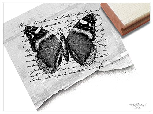Stempel XL Motivstempel Vintage Butterfly, Schmetterling mit alter Handschrift - Bildstempel Design Scrapbook Basteln Kunst Deko - zAcheR-fineT