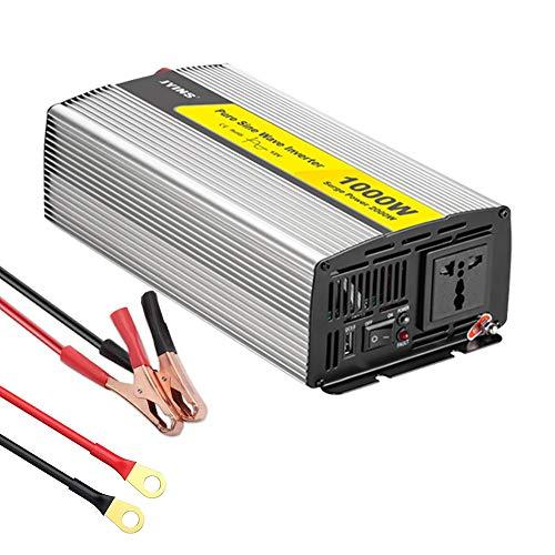 GJXJY Inversor De Corriente Onda Sinusoidal Pura 1000W Transformador de 12V A 110V/220V, con Enchufe Universal Y Puertos USB (5v/2.4A) para Coche, Caravana, Barco, Cámping