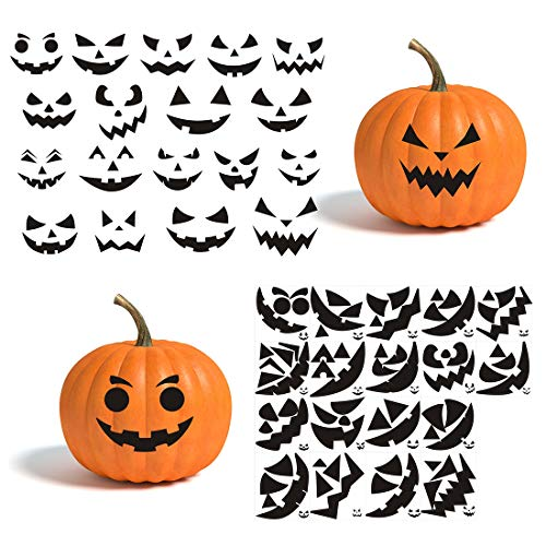 Gustum Pumpkin Decorating Stickers Kits Props Etching Pumpkin Template 18 Sheets Make Your Own Jack-O-Lantern Face Craft Decals Halloween Party Decorations Supplies Trick or Treat Party Favors