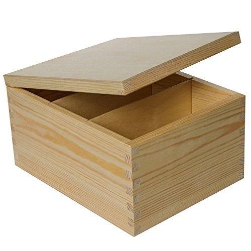 Creative Deco CD Holzkiste mit Deckel | 18,5 x 24 x 13,5 cm | Fotobox Briefbox Schatulle Holztruhe Erinnerungsbox Aufbewahrungsbox Unbemalt | Perfekt für Lagerung, Decoupage & Dekoration