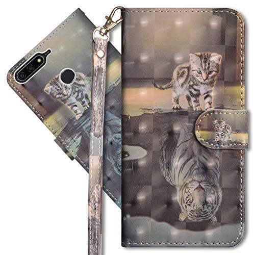 MRSTER Huawei Y7 2018 Handytasche, Leder Schutzhülle Brieftasche Hülle Flip Case 3D Muster Cover mit Kartenfach Magnet Tasche Handyhüllen für Huawei Y7 2018 / Honor 7C. YX 3D - Cat Tiger