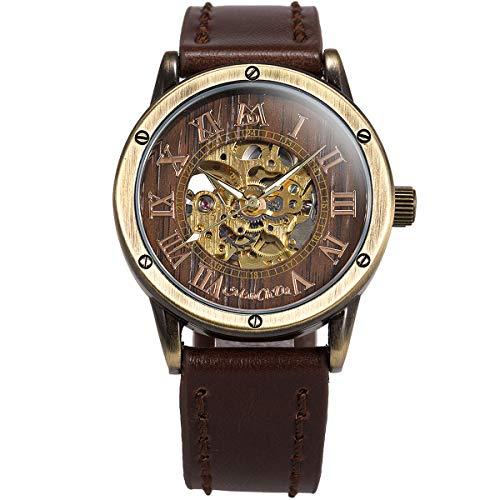 ManChDa Männer Armbanduhr Spezielle Burlywood Zifferblatt Mode Schwarz Lederband Automatische Mechanische Armbanduhr für Männer + Geschenkbox (1.Braun,MWA001)