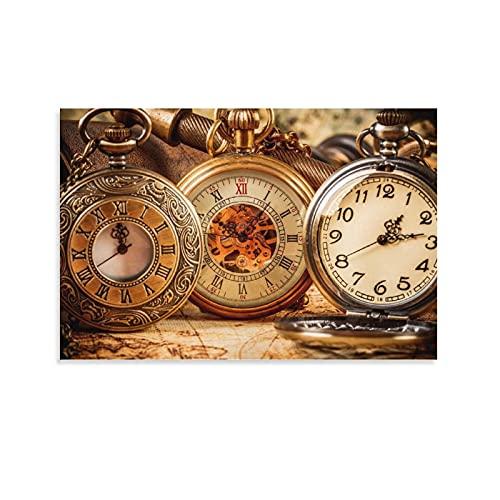 Póster de Reloj De Bolsillo Antiguo en lienzo y pared de 30 x 45 cm
