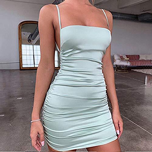 zhuangyulin6 Ropa de Mujer Vestidos Sexy, Mini Vestido de satén con Correa de Espagueti Vestido de Fiesta Sexy sin Espalda con Vendaje Cruzado Vestido de Club Corto elástico Plisado, S, Verde