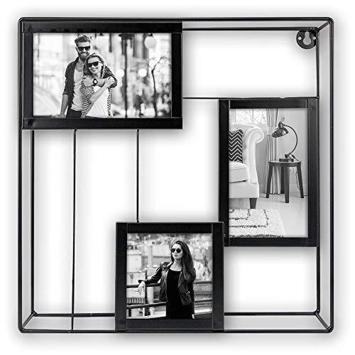 matches21 fotolijst fotokast fotolijst wandrek plank collage hout metaal fotorek modern zwart 3 fotos