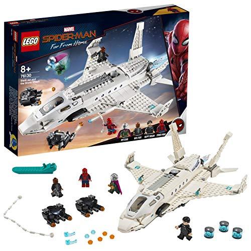 LEGO- Super Heroes Spider Man Il Jet Stark Set di Costruzioni con 4 Minifigure e Tanti Particolari, Multicolore, 76130