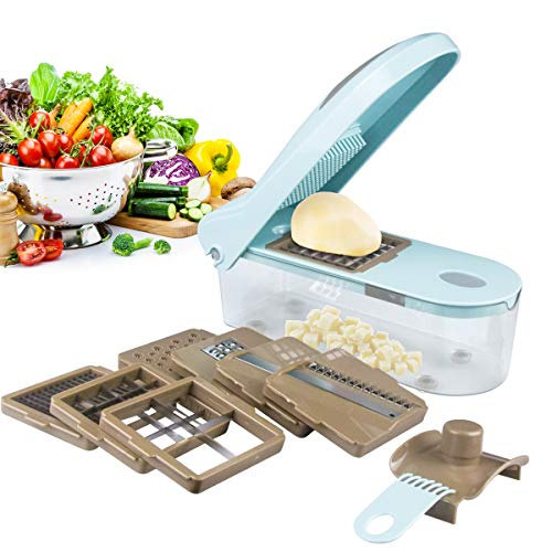 French fries Cutter Potato Fry Chopper Onion Slicer 8 Interchangeable Blades Food Chopper Cutter All-in-one Vegetable Chopper Spiralizer Fruit Slitter,Stainless Steel Blades,Excellent Kitchen Helper