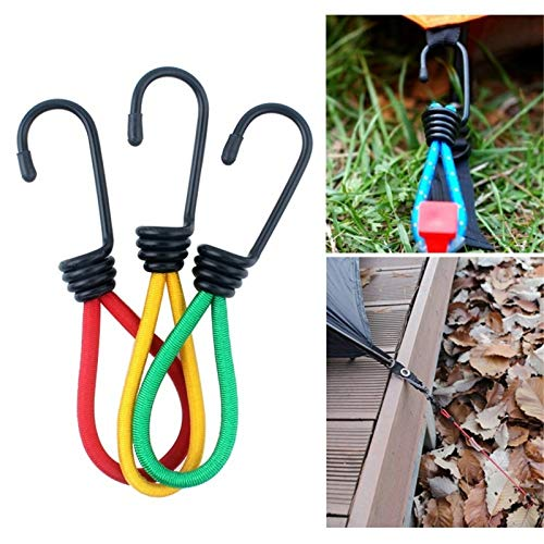 AEIOU 3 PCS Outdoor Camping Tent Elastic Rope Buckle High Elasticity Fixed Straps Camping Accessories, Random Color Delivery.