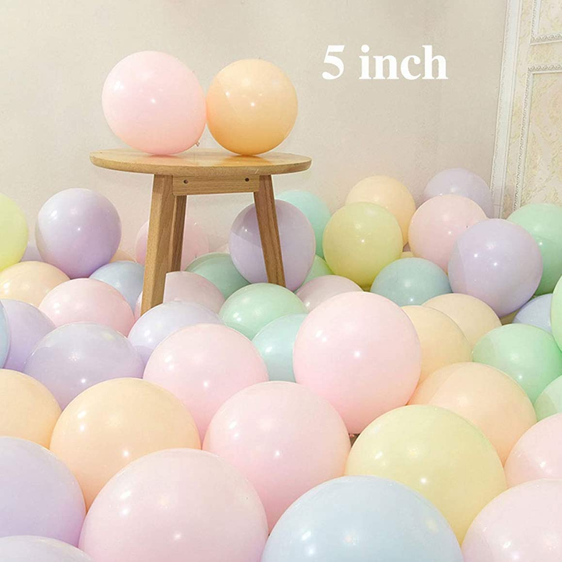 YESON 5 inch Latex Balloons Mini Assorted Pastel Macaron Colored Party Balloons,Pack of 200