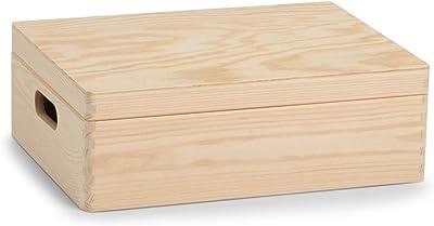Zeller 13517 - Bote multi-usages en bois de conifre avec couvercle 40 x 30 x 14 cm