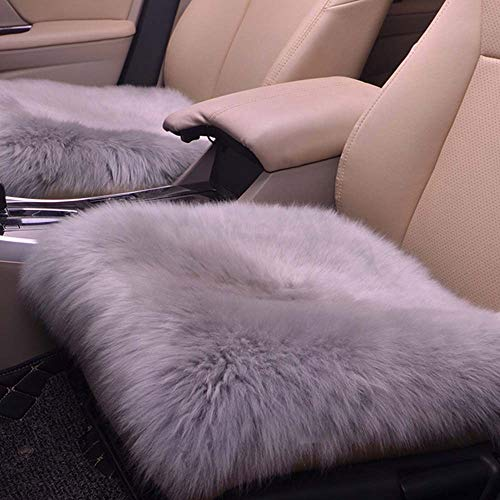 Homeng 45,7 x 45,7 cm quadratisch ohne Rückenlehne, luxuriöses Autositz-Kissen für Auto, SUV, LKW, Bürostuhl, grau, 18X18inch