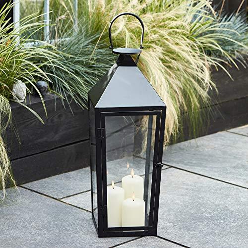 Lights4fun Grande Lanterne Noire avec Lot de 3 Bougies TruGlow® à LED Blanc Chaud pour Extérieur