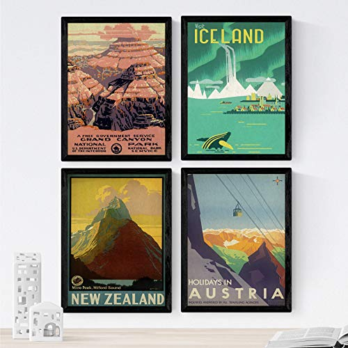 Nacnic Posters Vintage. Posters Publicidad del Mundo. Cuatro láminas Vintage de montañas y Rios....
