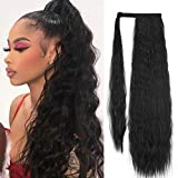 SEIKEA 32 Inch Clip in Ponytail Extension Wrap Around Long Wavy Curly Pony Tail Hair Fluffy Synthetic Hairpiece for Women - Black