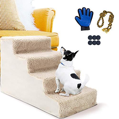 Masthome Escalier pour Chien 4 Marches, Escaliers pour Animaux en Plastique, pour Animaux Domestiques Jusqu'à 20LB - Envoyer Gant pour Animal Domestique et Un Jouet de Dressage pour Chiens