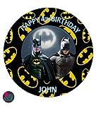 Decoración para tarta personalizable de Batman en lámina comestible premium de glaseado redondo de 19 cm, decoración de fiesta de cumpleaños cualquier texto