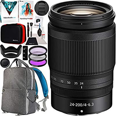 Nikon NIKKOR Z 24-200mm f/4-6.3 VR Telephoto All-in-One Zoom Lens Z Mount Mirrorless Cameras 20092 Bundle with Deco Gear Backpack Case + Photo Video Software + Filter Kit + Accessories Set from Nikon