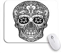 ROSECNY 可愛いマウスパッド シュガーブラックとホワイトのタトゥースカルメキシコデッドデイノンスリップラバーバッキングマウスパッド、ノートパソコン、マウスマット