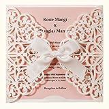 Wishmade 50 invitaciones de boda cortadas con láser blanco y rosa tarjetas de initación con lazo de encaje para bebé, despedida de soltera, cumpleaños, compromiso, quinceañera (paquete de 50 unidades)