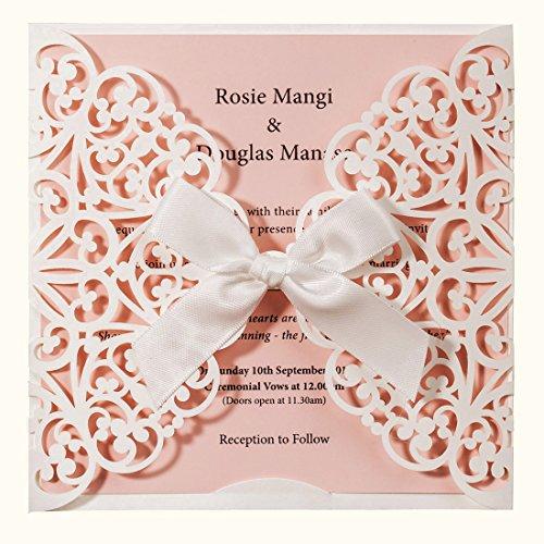Wishmade 50 Stücke Einladungskarten Für Hochzeit Geburtstag Taufe weiß und Rosa Blumen Lasercut Design Mit Seidenband Schleife Set inkl Umschläge und Aufkleber (Satz von 50pcs)