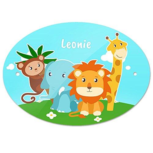 Türschild mit Namen Leonie und schönem Tier-Motiv mit Affe, Elefant, Löwe und Giraffe für Mädchen | Kinderzimmer-Schild