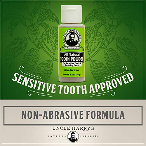 Uncle Harry's Natural Products All Natural Tooth Powder for Sensitive Teeth and Receding Gums, Made with Herbs and Pure Plant Essences, Fluoride Free and Vegan, 1.1 Ounces