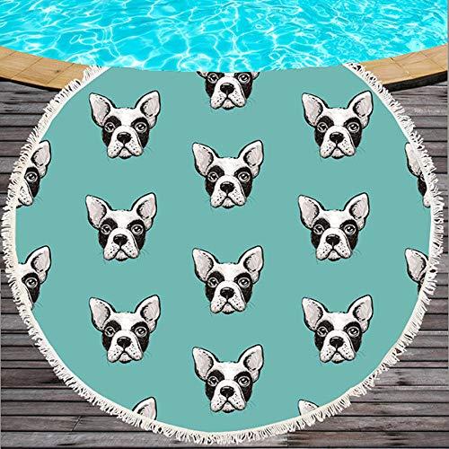 AMZJIEFU Toalla de Playa Redonda Bulldog Toalla de Playa Estampada para Perros Serviette De Plage Toalla Grande Microfibra de Dibujos Animados baño Infantil Toalla