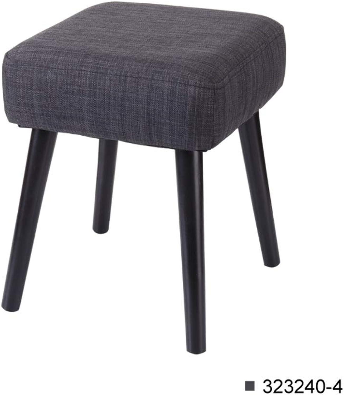 Padded Vanity Stool, European Solid Wood Makeup Bench Retro Upholstered -Black 32  29cm