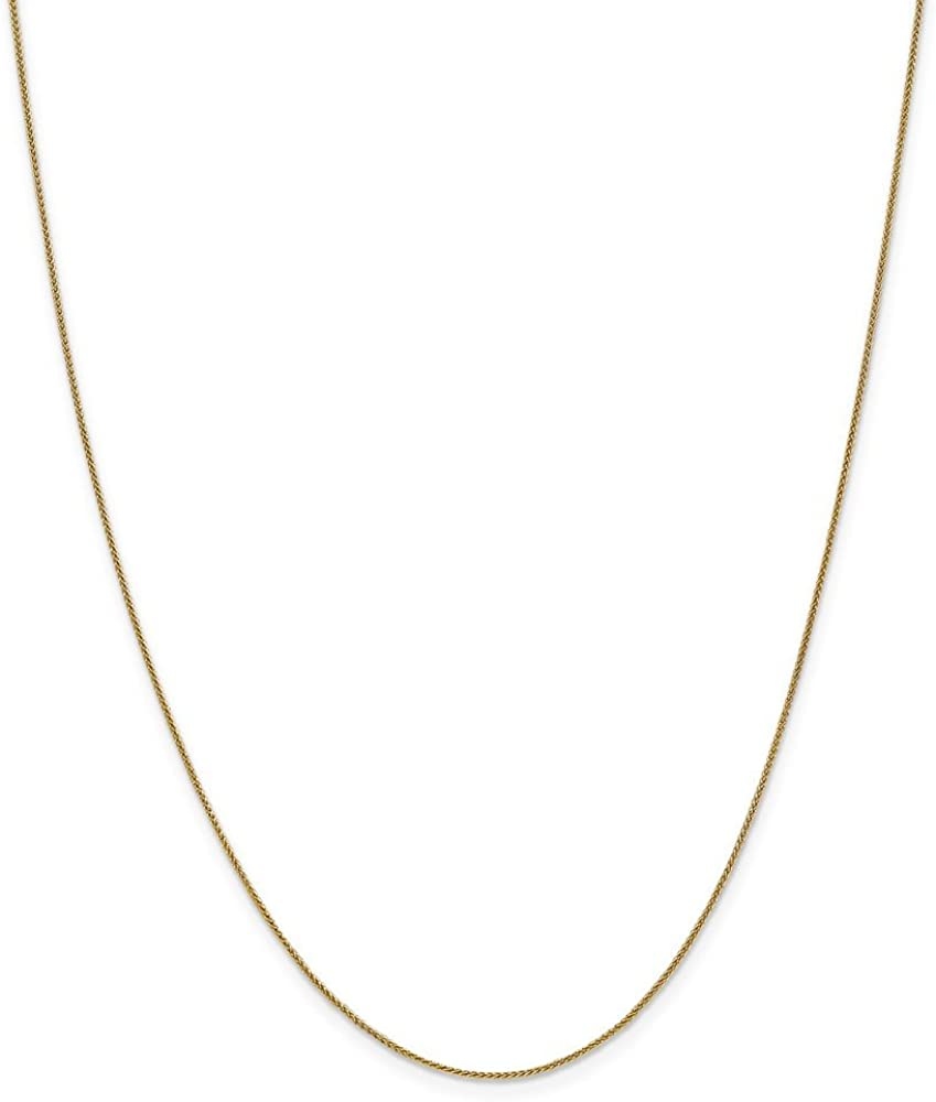 14k Yellow Gold 0.80mm Pendant Spiga Chain Necklace 14